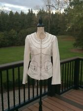Excellent! Women's Monoreno Studded White Jacket Sz Large See Details
