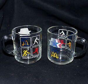 Pair 1984 Los Angeles USA Olympics Summer Games Anchor Hocking McDonalds Mugs 2