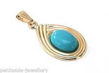 9ct Gold Turquoise Pendant Gift Boxed Necklace