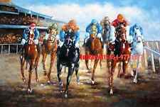 """24x36""""100% hand painted oil flat, Horse, Horse Racing"""