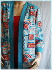"""GRAFF Turquoise & Coral Open Style Jacket (S) Bust 42"""" Polyester Made in USA"""