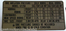 SUZUKI X7 250 GT250E GT250EN TYRE CAUTION WARNING DECAL