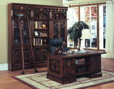 Exceptional Barcelona Executive Desk U0026 Library Bookcase W Ladder Solid Wood Office  Furniture
