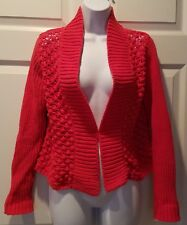 Ladies Chico's Cardigan Sweater Size 0 Small Red/Orange 4