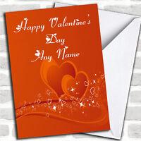 Orange Love Heart Romantic Personalized Valentine's Day Card