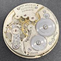 Admiral Tacy Vintage Swiss Pocket Watch Movement 16s 17 Jewels Parts F5672