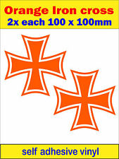 Orange Iron Cross MALTESE CROSS decal car van bus truck mini sticker dub bike