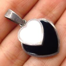 Vtg 925 Sterling Silver Mother-Of-Pearl Black Onyx Double Heart Dangling Pendant