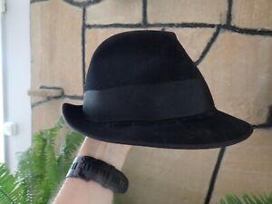 Vintage Akubra Black Fedora Style Hat size 1/8 (57cm)