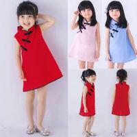 Toddler Girls Summer Princess Dress Kids Baby Party Wedding Sleeveless Cheongsam