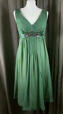 Monsoon 100% Silk Empire Line Sleeveless Jewelled Green Dress - Size 10 EXC COND