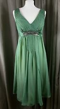 Monsoon 100% Silk Empire Line Sleeveless Jewelled Green Dress UK10 EU38 EXC COND
