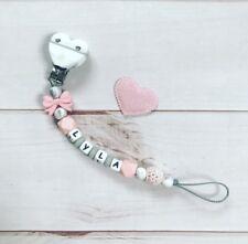 Schnullerkette Schnullerband Nuckelkette mit Namen Silikon rosa weiß grau