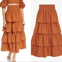 WE WORE WHAT Swim Paloma Ruffle Maxi Skirt Bran Polka Dot size Small NWT $225