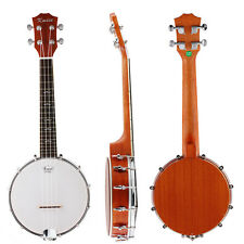 Kmise 4 String Concert Banjo Ukulele Uke 23 Inch Size 18 Frets Sapele for Gift