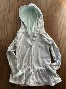 Carters Peplum Button Up Hoodie Grey/ Light Teal Striped Size 3T