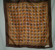 Paoli Vintage Scarf Rolled Edge Geometric 23 Square Ladies Brown Orange