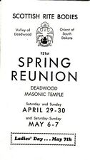 Scottish Rite Bodies Deadwood South Dakota 131st Spring Reunion Small Brochure