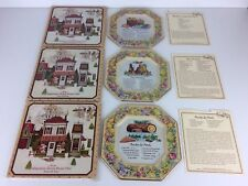 3 X Vintage Avon Hospitality Tin Receipe Plates With Receipt Papers