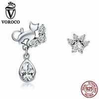 VOROCO 925 Sterling Silver Cute Cat Charms with AAA CZ For Girls Christmas Gift
