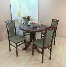 Essgruppe 5-tlg. Auszugtisch rund Stühle Esstisch Tisch Farbe: Nuss-Dunkel/Olive