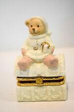 Lexie Teddy Trunk Trinket Box Porcelain Formalities Collection Baum Brothers
