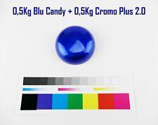 Vernice a Polvere Powder Coating Paint CROMO PLUS + BLU CANDY LUC. 500gr+500gr