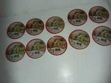 Lot Of 10 Currier And Ives Winter Sleigh Scene Cork & Tin Drink Coasters