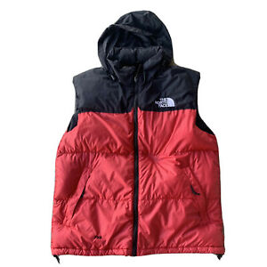 Vtg The North Face 700 Nuptse Vest Goose Down Feather Large Red/Black TNF Puffer