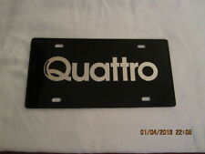 "Vintage Black Plastic Volkswagen License Plate - Quattro - 6"" by 12"" - 1980's"