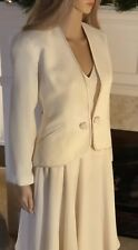 RONNIE HELLER MJ 10 Medium Cream 2pc Set Jacket Blazer A-line Side Zip Skirt