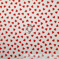 BonEful Fabric Cotton Quilt White Red Small Heart Valentine Xmas Girl Boy SCRAP