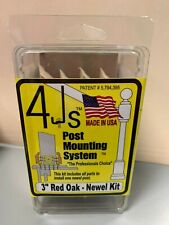 """4Js Newel Post Fastener Mounting System 3"""" Red Oak Colonial Molding"""