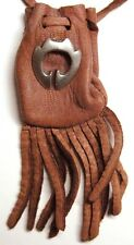 """Tribal design medicine bag- mahogany draw (""""loop with fluted top"""") charm"""