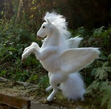 big simulation unicorn toy resin&fur white wings unicorn doll gift about 32cm