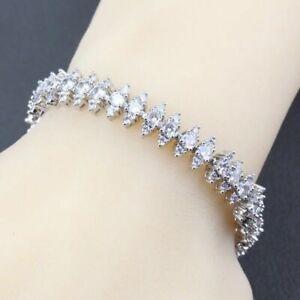 Atemberaubende Sterling Silber gefüllt simuliert Diamant Prinzessin Tennis Armband 21cm