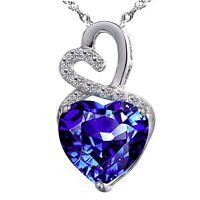 Double Heart Created Blue Sapphire 925 Sterling Silver Pendant Necklace Gifts