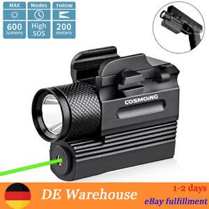 600 Lumens Compact Jagd Taktisch Grün Laser Pistole Light LED Taschenlampe Combo