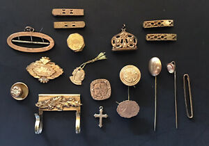 Estate Lot Gold Filled? Victorian Scrap Embossed Engraved Stud Fob Pins  Etc.