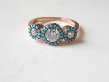 Unique Rose Gold Plated 925 Sterling Silver Turkish Turquoise Topaz Ring Sz 7.25