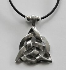 Choker #423 Pewter CELTIC TRIANGLE (40mm x 30mm) Rubber Silicon Cord Necklace