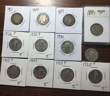 Lot of 12 Mixed Date Barbers (4)  and Standing Liberty (8) Silver Quarters