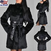 Womens Faux Fur Winter Warm Parka Jacket Casual Fluffy Coat Outerwear Overcoat