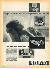 PUBLICITE ADVERTISING 124  1960  MELOVOX   tourne- disque éléctrophone