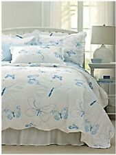 NEW QUEEN Beautiful Blue EMBROIDERED BUTTERFLY Mariposa COVERLET Bedding LOVELY