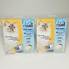 Soft Claws For Cats 40 Nail Caps + Adhesive Small 6-8 Lbs in Clear Lot of 2
