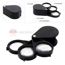 15x Flip Out Magnifier Plastic Folding Pocket Magnifying 3 Glass Lenses Swivel