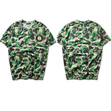 Japanese BAPE Green Camouflage Short Sleeve T-shirt A Bathing Ape Camo Tee Tops