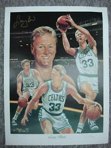 LARRY BIRD AUTOGRAPHED ANGELO MARINO LITHOGRAPH ALSO SIGNED BY ARTIST 346/900