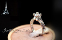 925 Sterling Silver CZ Paris The Eiffel Tower Engagement Solitaire Ring RS28